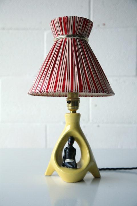 1950s Ceramic Lamp and Shade