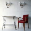 Rare 1950s Glass Teak Wall Lights by G Rispal France