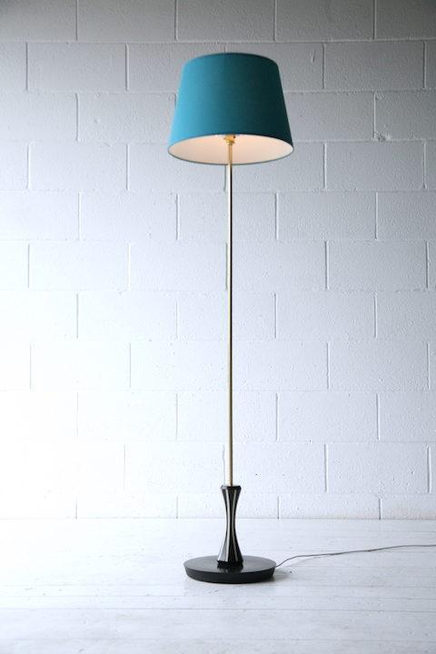 1950s Blue Black Brass Floor Lamp 1
