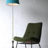 1950s Blue Black Brass Floor Lamp