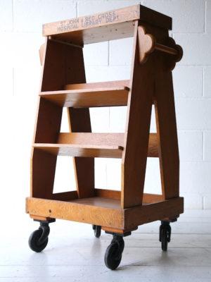 Vintage Oak Hospital Book Trolley 5