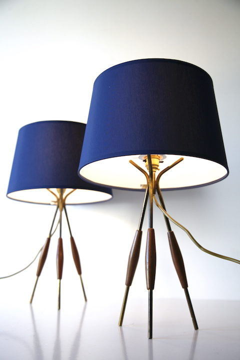 Pair 1960s Tripod Table Lamps