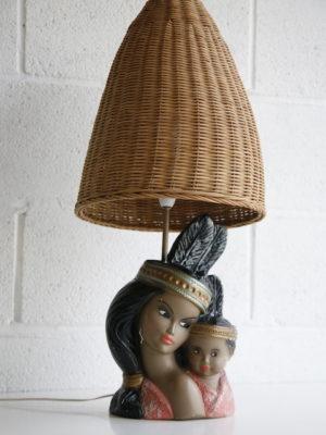 1960s Chalkware Lamp with Wicker Shade