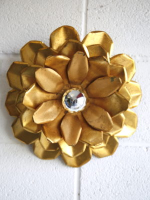 1970s Gold Flower Wall Light 5