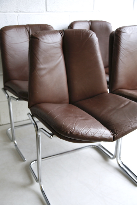 1970s Leather Dining Chairs by Pieff 5