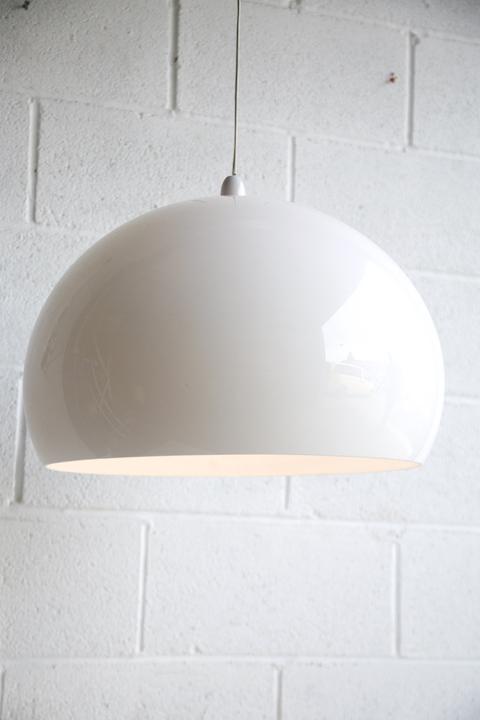Large 1970s White Mushroom Ceiling Light
